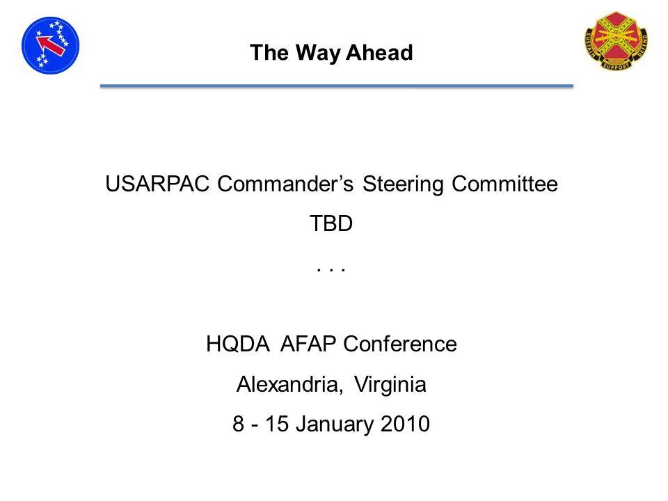 USARPAC Commanders Steering Committee TBD...