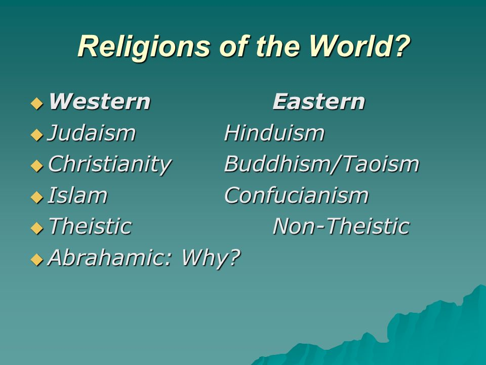 Ultimate Questions: East and West What is the cause of evil in the world.