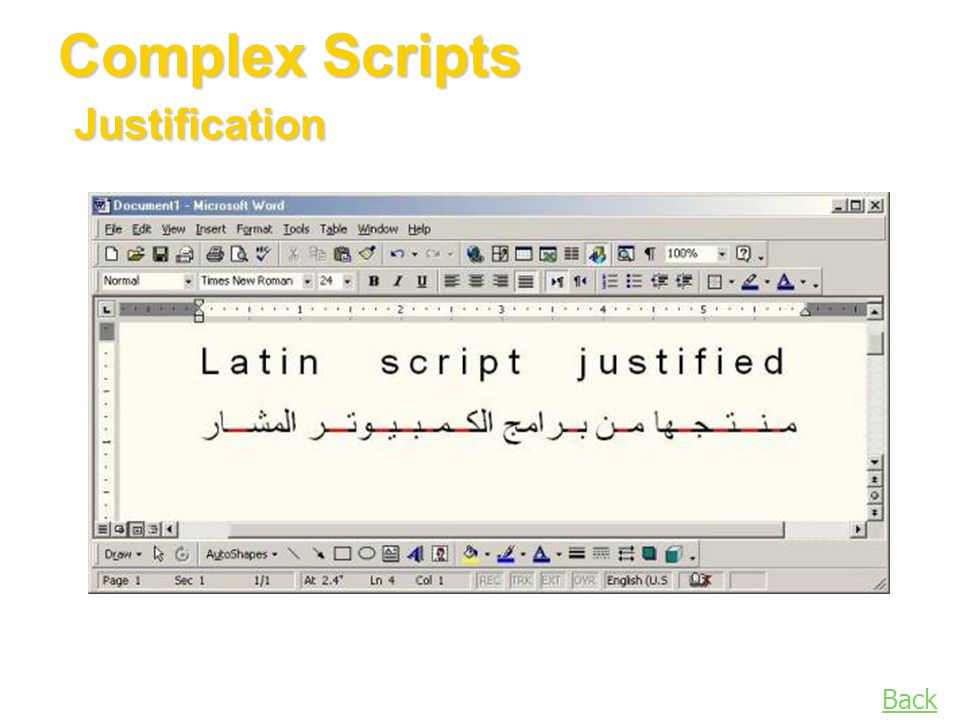 Back Complex Scripts Justification