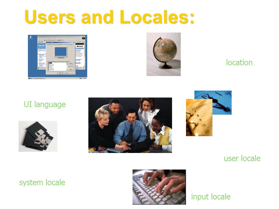 Users and Locales: To define their geographical location, users set the location To define formatting for date, time…, users set the user locale To ru
