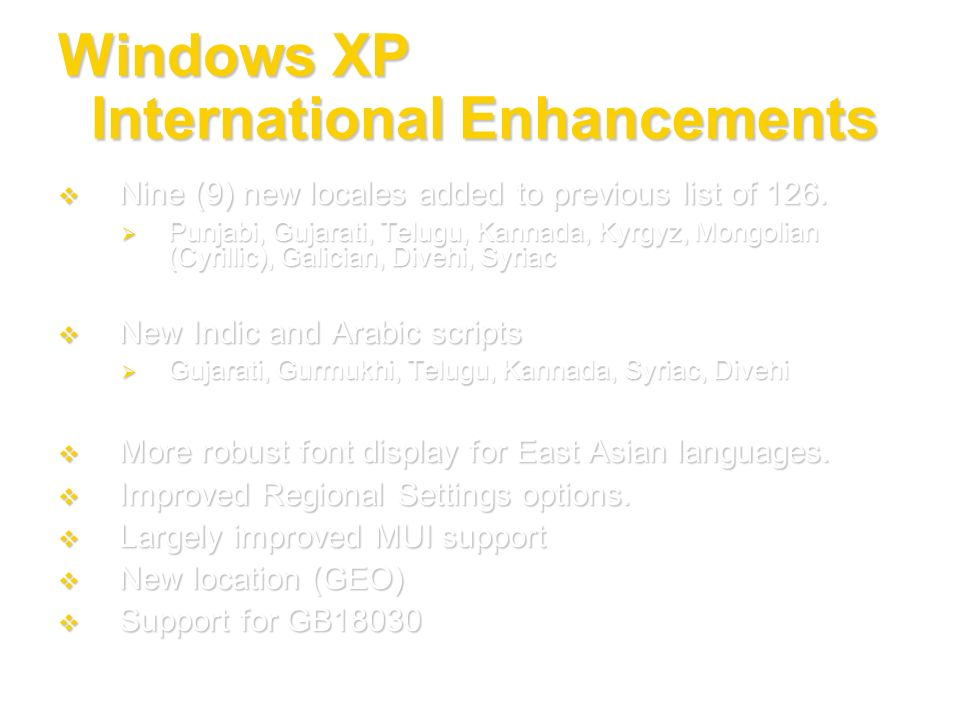 Windows XP International Enhancements Nine (9) new locales added to previous list of 126. Nine (9) new locales added to previous list of 126. Punjabi,
