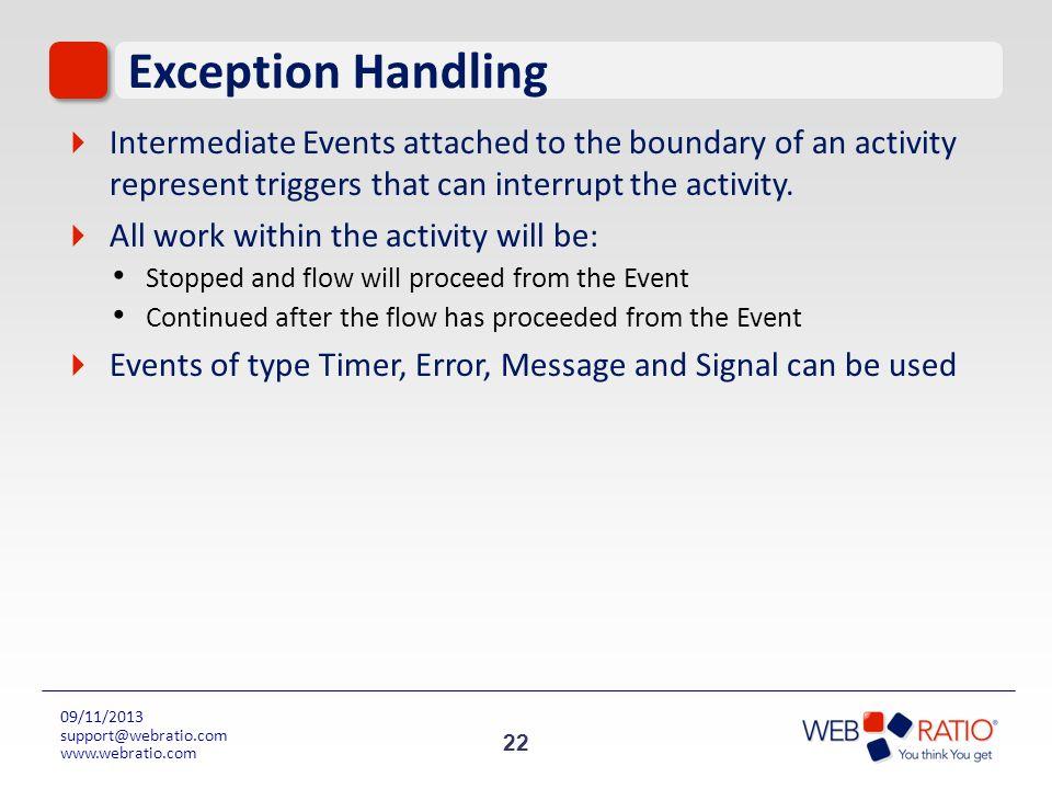 22 09/11/2013 support@webratio.com www.webratio.com Exception Handling Intermediate Events attached to the boundary of an activity represent triggers