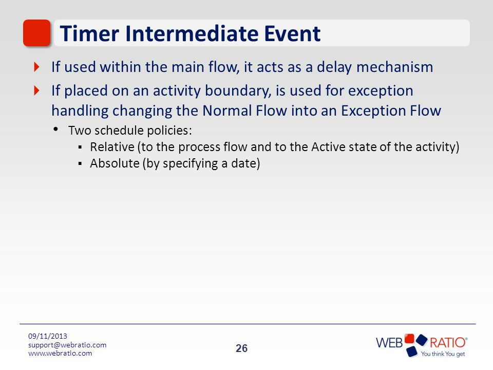 26 09/11/2013 support@webratio.com www.webratio.com Timer Intermediate Event If used within the main flow, it acts as a delay mechanism If placed on a
