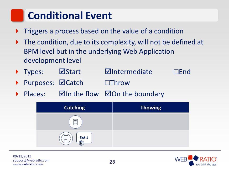 28 09/11/2013 support@webratio.com www.webratio.com Conditional Event Triggers a process based on the value of a condition The condition, due to its c