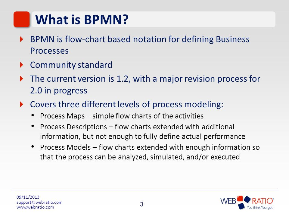 3 09/11/2013 support@webratio.com www.webratio.com What is BPMN? BPMN is flow-chart based notation for defining Business Processes Community standard