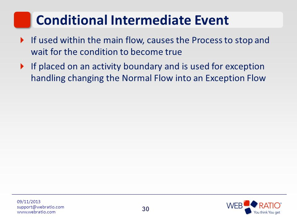 30 09/11/2013 support@webratio.com www.webratio.com Conditional Intermediate Event If used within the main flow, causes the Process to stop and wait f