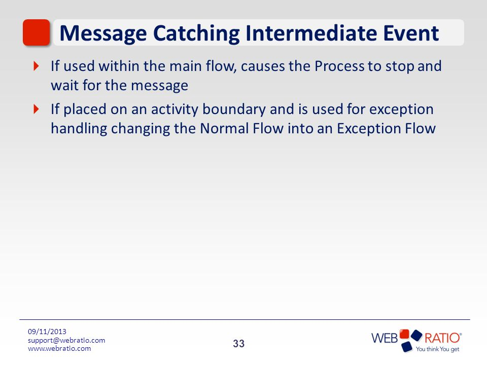 33 09/11/2013 support@webratio.com www.webratio.com Message Catching Intermediate Event If used within the main flow, causes the Process to stop and w