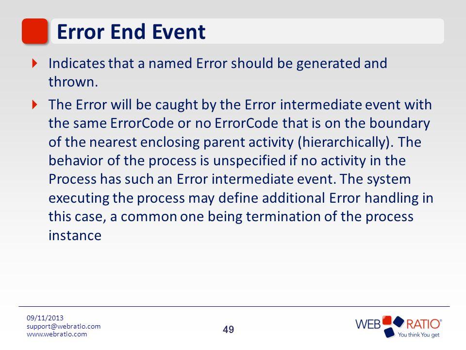 49 09/11/2013 support@webratio.com www.webratio.com Error End Event Indicates that a named Error should be generated and thrown. The Error will be cau