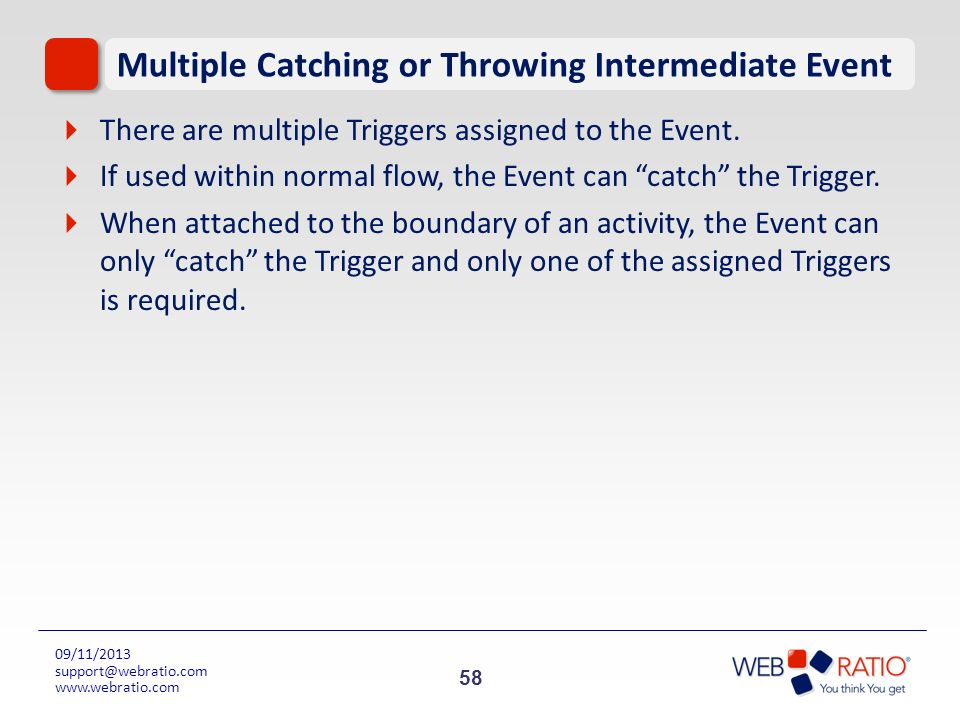58 09/11/2013 support@webratio.com www.webratio.com Multiple Catching or Throwing Intermediate Event There are multiple Triggers assigned to the Event
