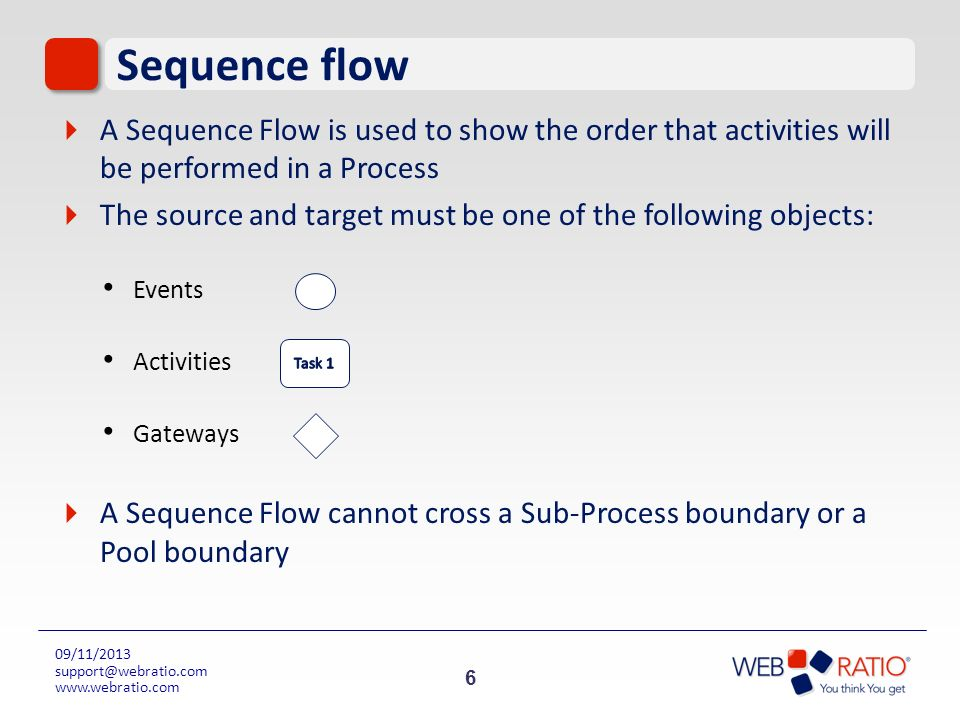 6 09/11/2013 support@webratio.com www.webratio.com Sequence flow A Sequence Flow is used to show the order that activities will be performed in a Proc