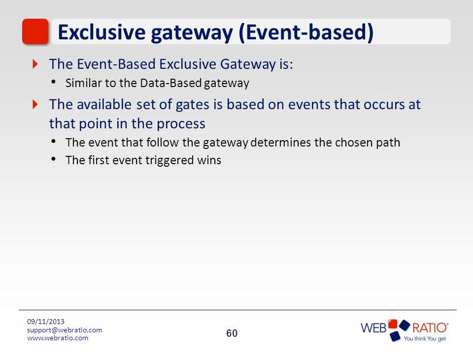 60 09/11/2013 support@webratio.com www.webratio.com Exclusive gateway (Event-based) The Event-Based Exclusive Gateway is: Similar to the Data-Based ga