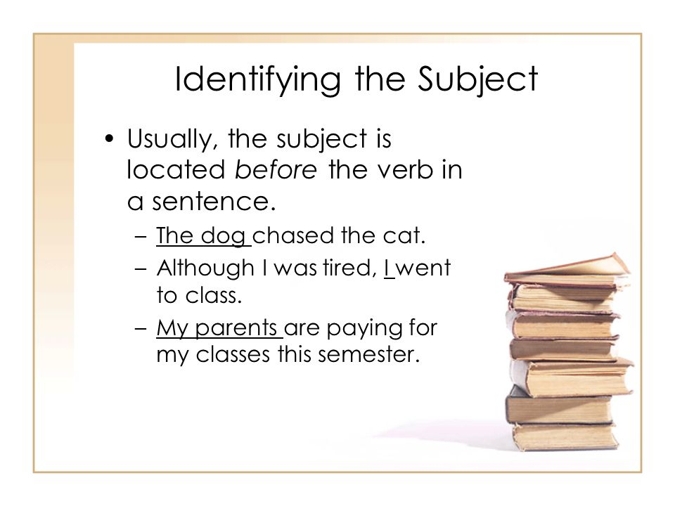 Identifying the Subject Usually, the subject is located before the verb in a sentence. –The dog chased the cat. –Although I was tired, I went to class