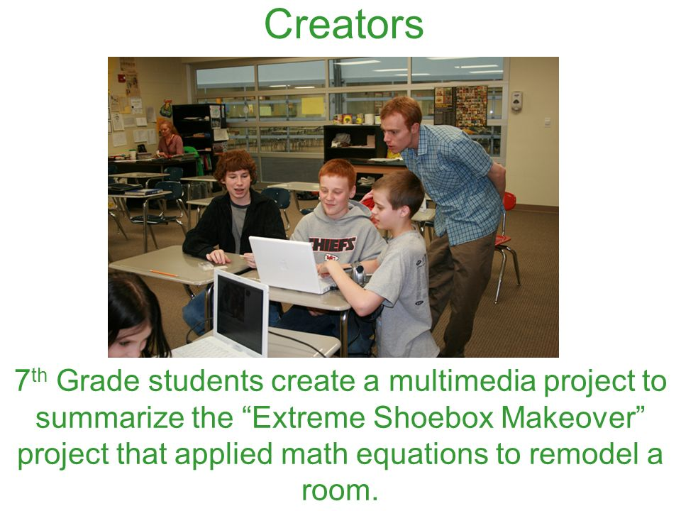 7 th Grade students create a multimedia project to summarize the Extreme Shoebox Makeover project that applied math equations to remodel a room. Creat