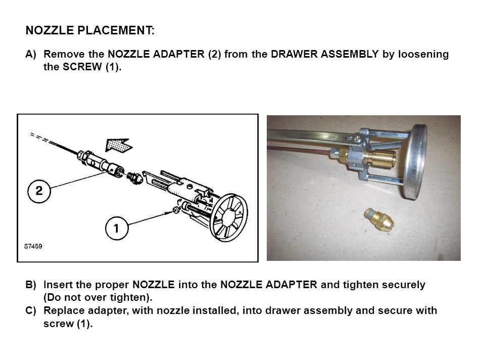 NOZZLE PLACEMENT: A)Remove the NOZZLE ADAPTER (2) from the DRAWER ASSEMBLY by loosening the SCREW (1). B)Insert the proper NOZZLE into the NOZZLE ADAP