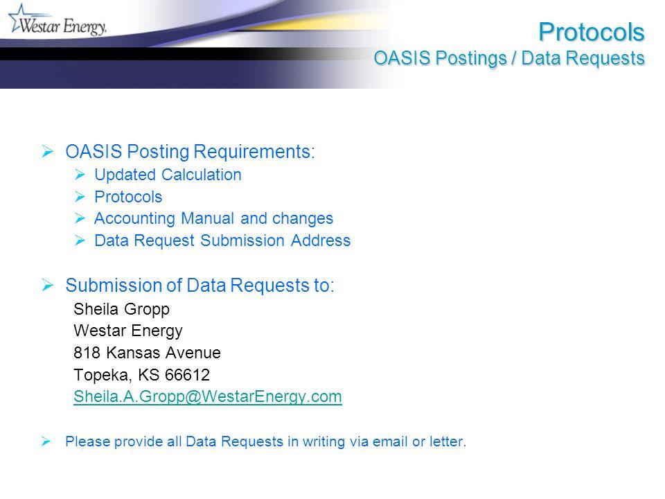 Key Data Locations FERC Form 1 Data - 2008: FERC.gov (Westar Energy Form 1) Formula Rate Postings: Westar Energy Oasis http://sppoasis.spp.org/OASIS/WR or http://oatioasis.comhttp://oatioasis.com Accounting Data User ID: AFSReader Accounting Data Password: AFSReader#1 Southwest Power Pool Oasis http://sppoasis.spp.org/OASIS/SWPP or http://oatioasis.comhttp://oatioasis.com