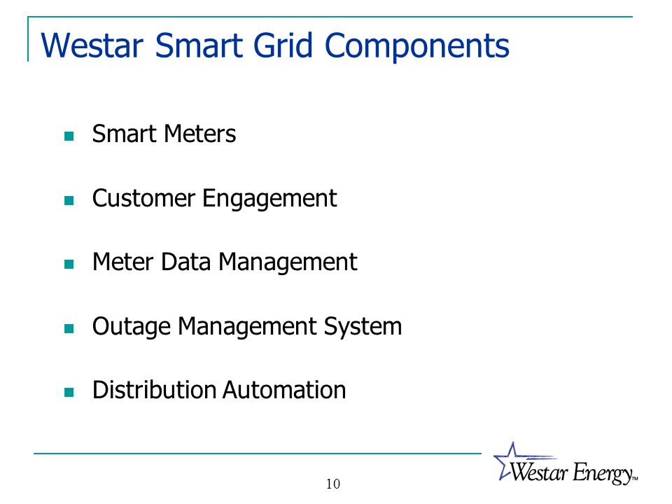 10 Westar Smart Grid Components Smart Meters Customer Engagement Meter Data Management Outage Management System Distribution Automation