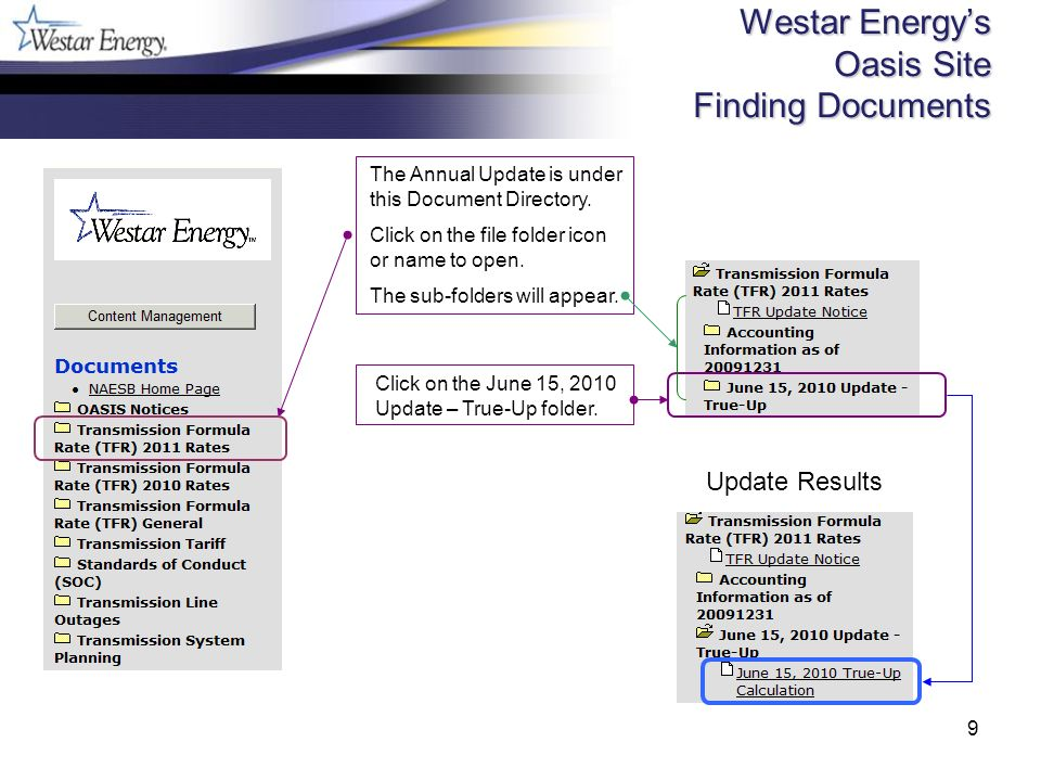 9 Westar Energys Oasis Site Finding Documents The Annual Update is under this Document Directory.