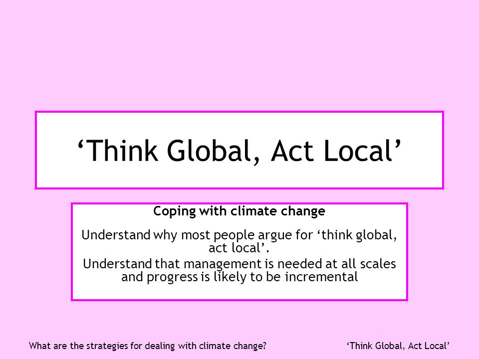 Think Global, Act LocalWhat are the strategies for dealing with climate change.
