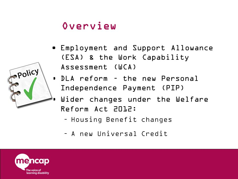 Overview Employment and Support Allowance (ESA) & the Work Capability Assessment (WCA) DLA reform – the new Personal Independence Payment (PIP) Wider