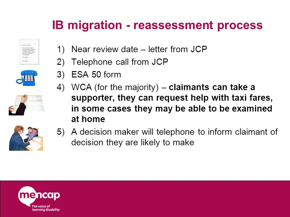 IB migration - reassessment process 1)Near review date – letter from JCP 2)Telephone call from JCP 3)ESA 50 form 4)WCA (for the majority) – claimants