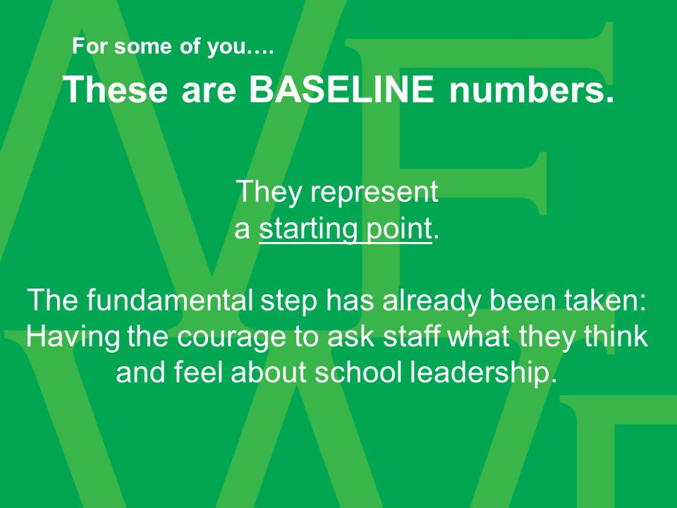 These are BASELINE numbers. They represent a starting point.