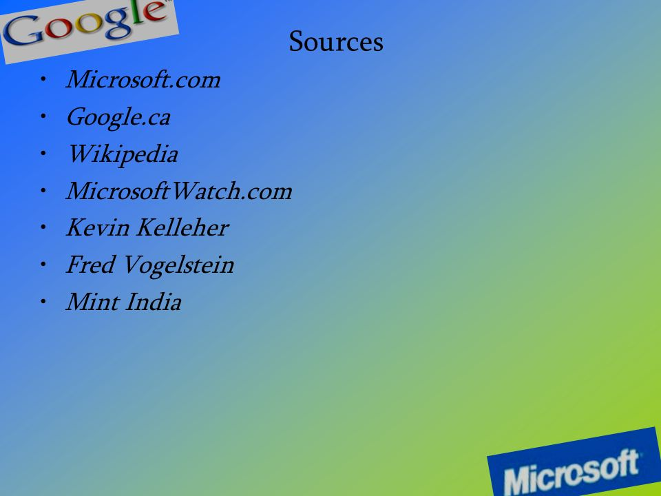 Sources Microsoft.com Google.ca Wikipedia MicrosoftWatch.com Kevin Kelleher Fred Vogelstein Mint India