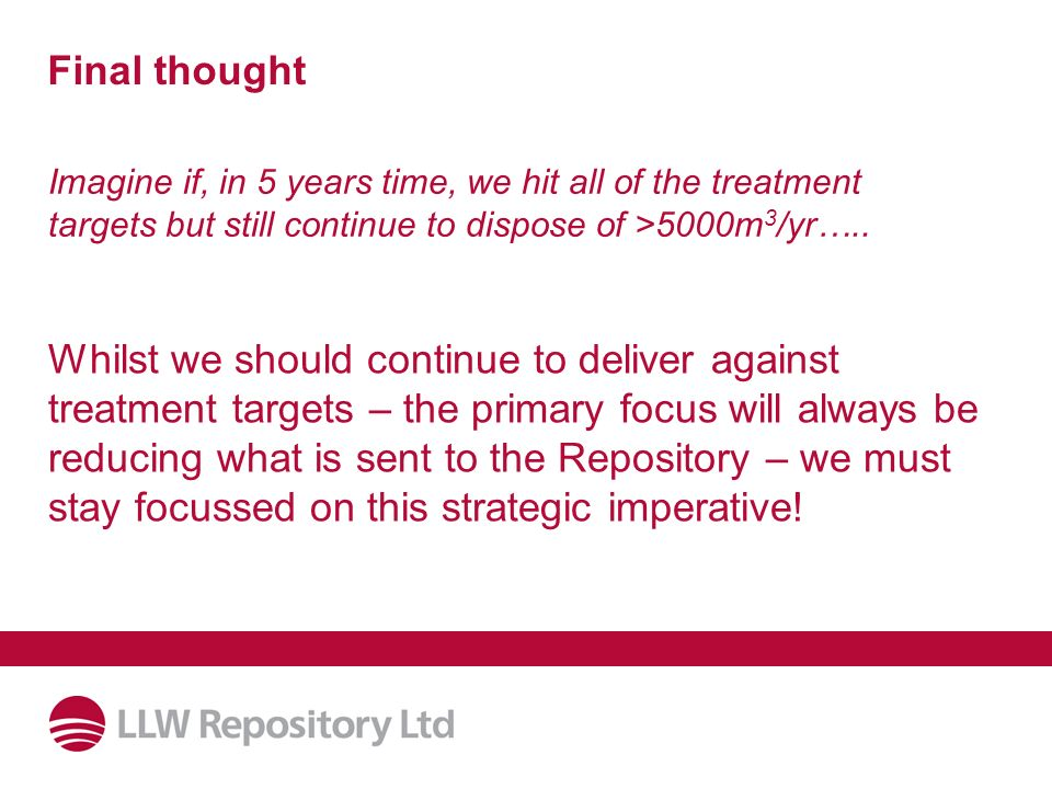 Final thought Imagine if, in 5 years time, we hit all of the treatment targets but still continue to dispose of >5000m 3 /yr…..