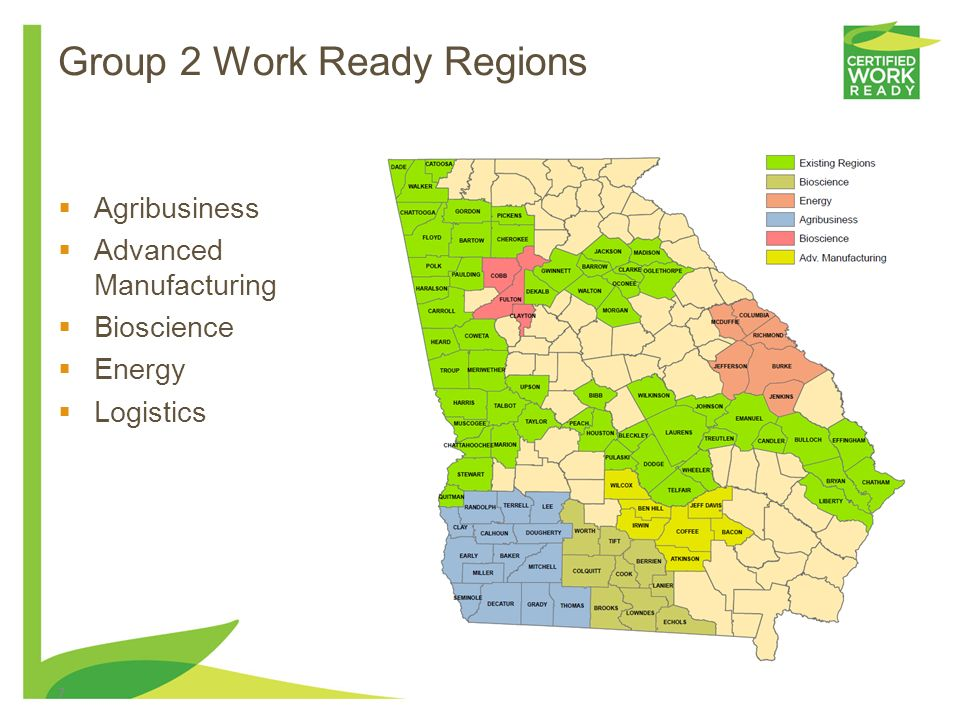 6 Georgia 11 Program Concentrations Federal 16 Clusters AgricultureAgriculture, Food & Natural Resources Architecture, Construction, Communications &