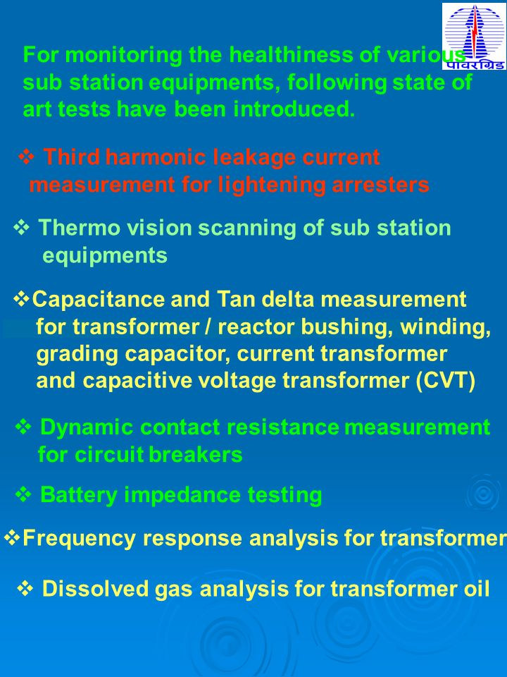 For monitoring the healthiness of various sub station equipments, following state of art tests have been introduced. Third harmonic leakage current me