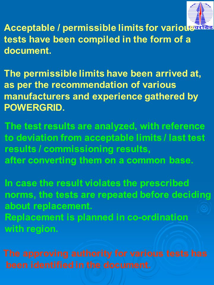 Acceptable / permissible limits for various tests have been compiled in the form of a document. The permissible limits have been arrived at, as per th