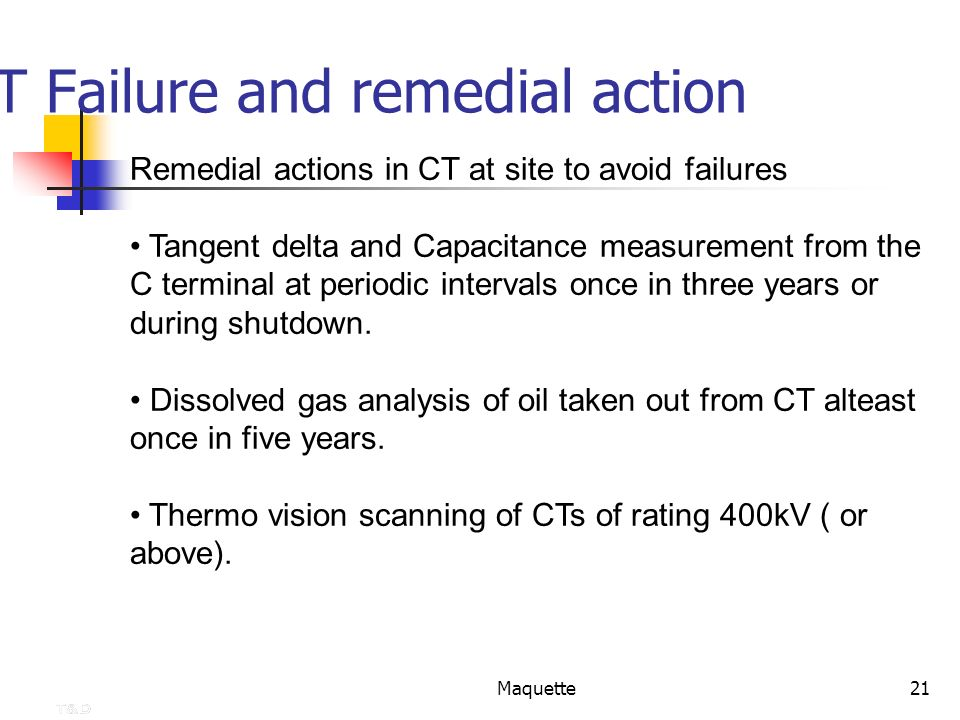 Maquette21 CT Failure and remedial action Remedial actions in CT at site to avoid failures Tangent delta and Capacitance measurement from the C termin