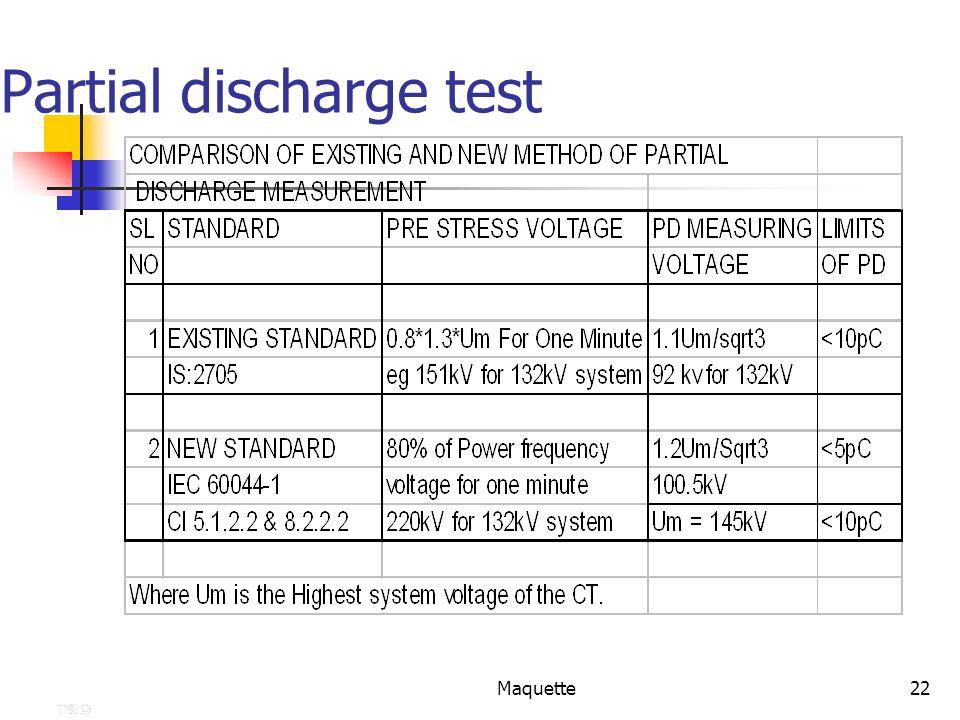 Maquette22 Partial discharge test