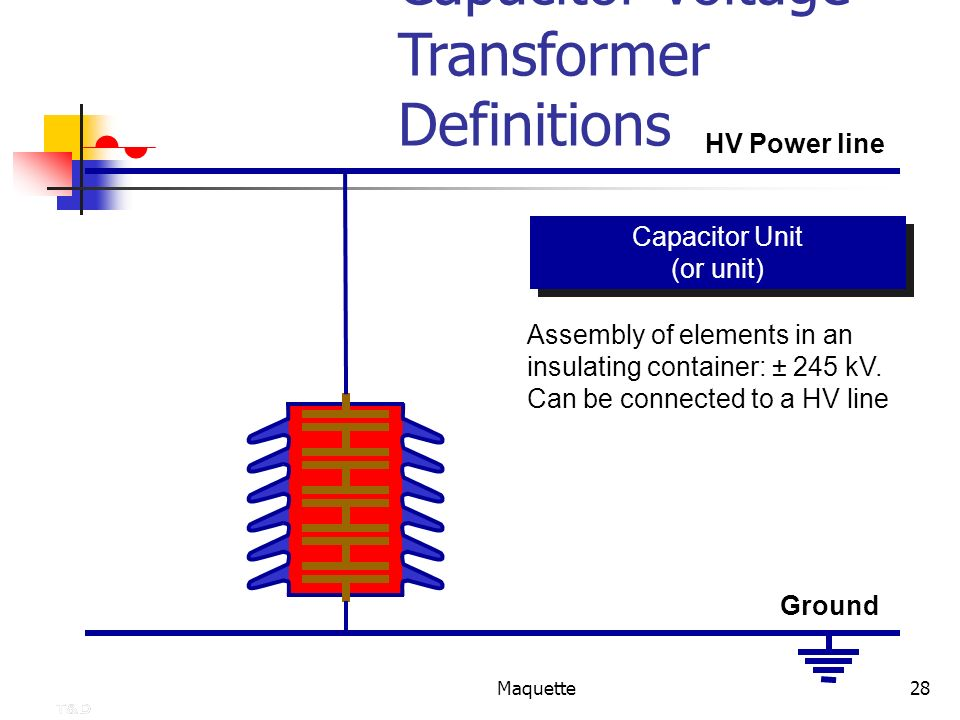 Maquette28 Capacitor Voltage Transformer Definitions Assembly of elements in an insulating container: ± 245 kV. Can be connected to a HV line Capacito