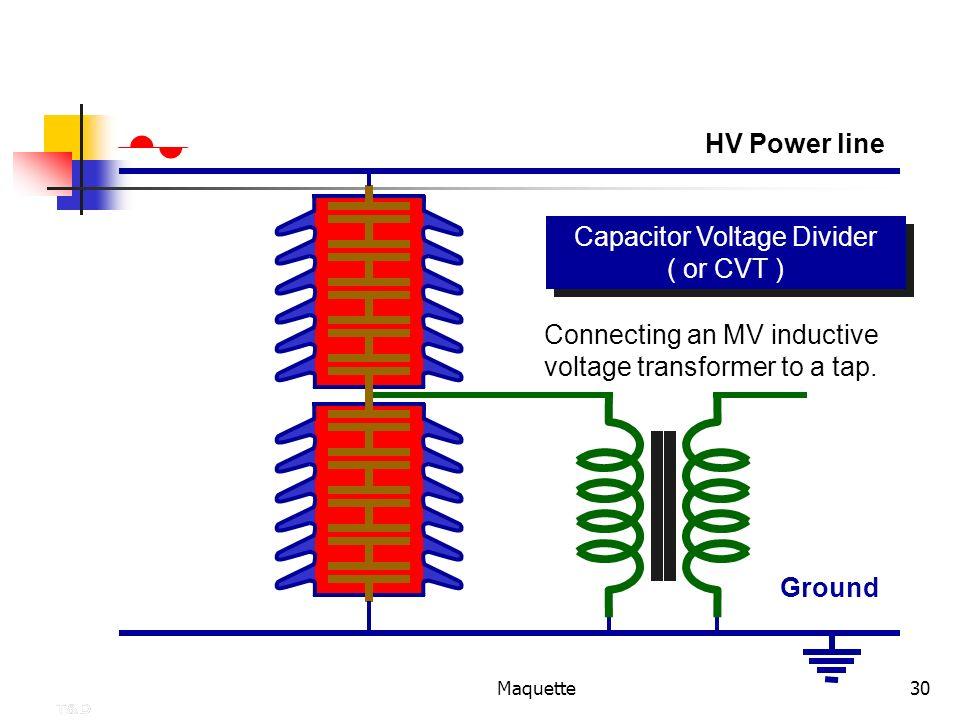 Maquette30 Capacitor Voltage Divider ( or CVT ) Capacitor Voltage Divider ( or CVT ) Connecting an MV inductive voltage transformer to a tap. HV Power