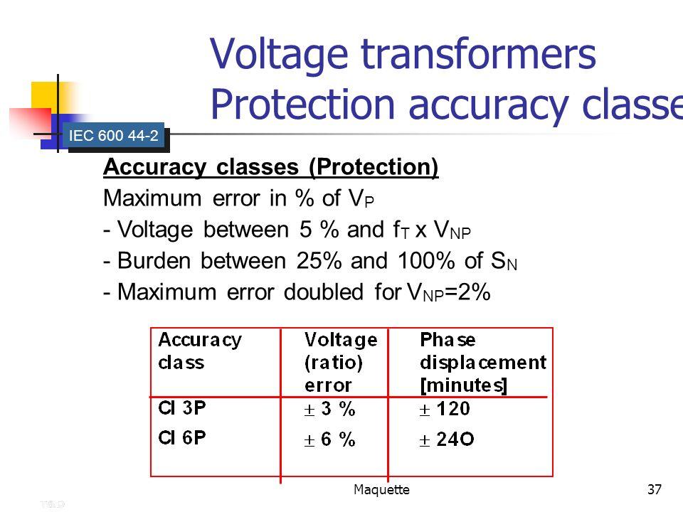 Maquette37 Voltage transformers Protection accuracy classes IEC 600 44-2 Accuracy classes (Protection) Maximum error in % of V P - Voltage between 5 %