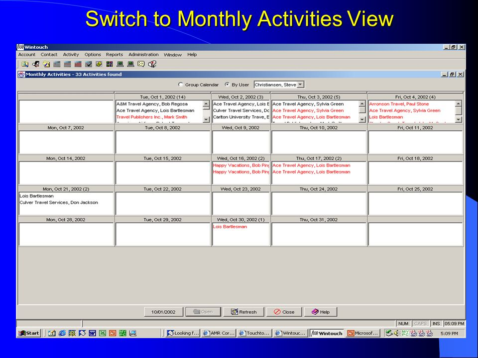 Switch to Monthly Activities View