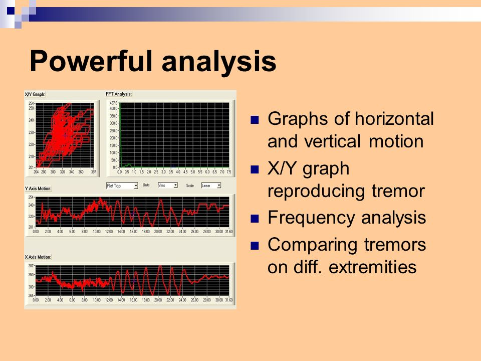 Powerful analysis Graphs of horizontal and vertical motion X/Y graph reproducing tremor Frequency analysis Comparing tremors on diff.