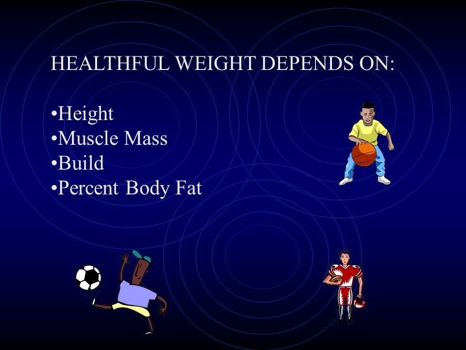 HEALTHFUL WEIGHT DEPENDS ON: Height Muscle Mass Build Percent Body Fat