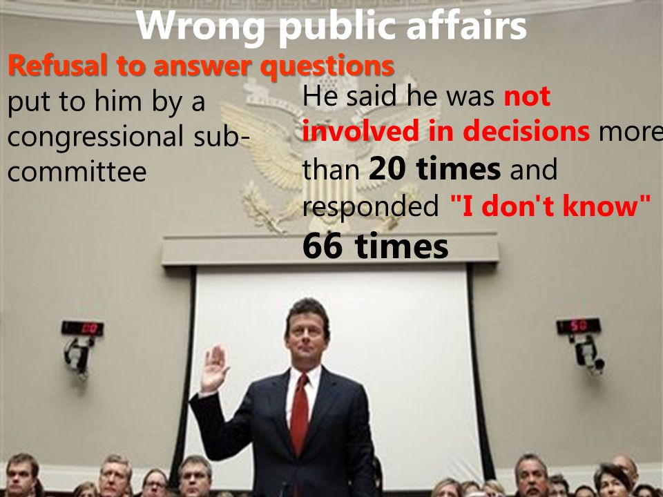Wrong public affairs Refusal to answer questions put to him by a congressional sub- committee He said he was not involved in decisions more than 20 times and responded I don t know 66 times