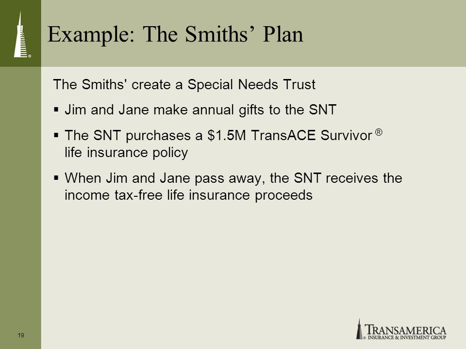 Example: The Smiths Plan The Smiths' create a Special Needs Trust Jim and Jane make annual gifts to the SNT The SNT purchases a $1.5M TransACE Survivo