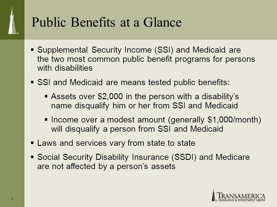 Public Benefits at a Glance 5 Supplemental Security Income (SSI) and Medicaid are the two most common public benefit programs for persons with disabil