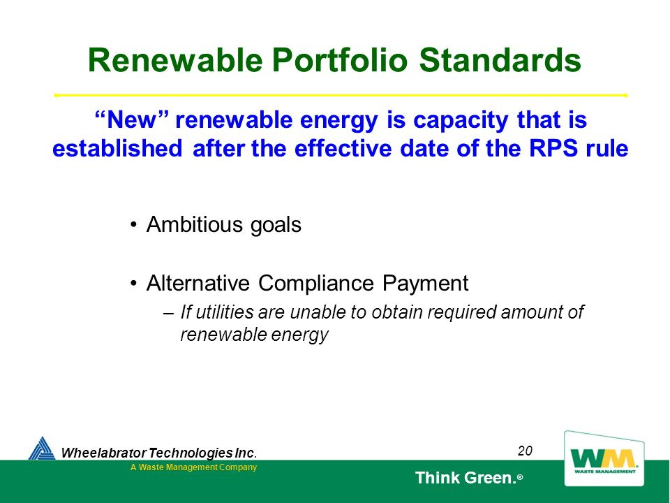 20 Renewable Portfolio Standards Ambitious goals Alternative Compliance Payment –If utilities are unable to obtain required amount of renewable energy