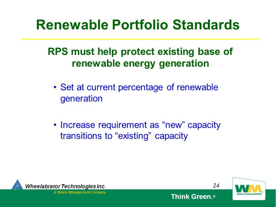 24 Renewable Portfolio Standards Set at current percentage of renewable generation Increase requirement as new capacity transitions to existing capaci