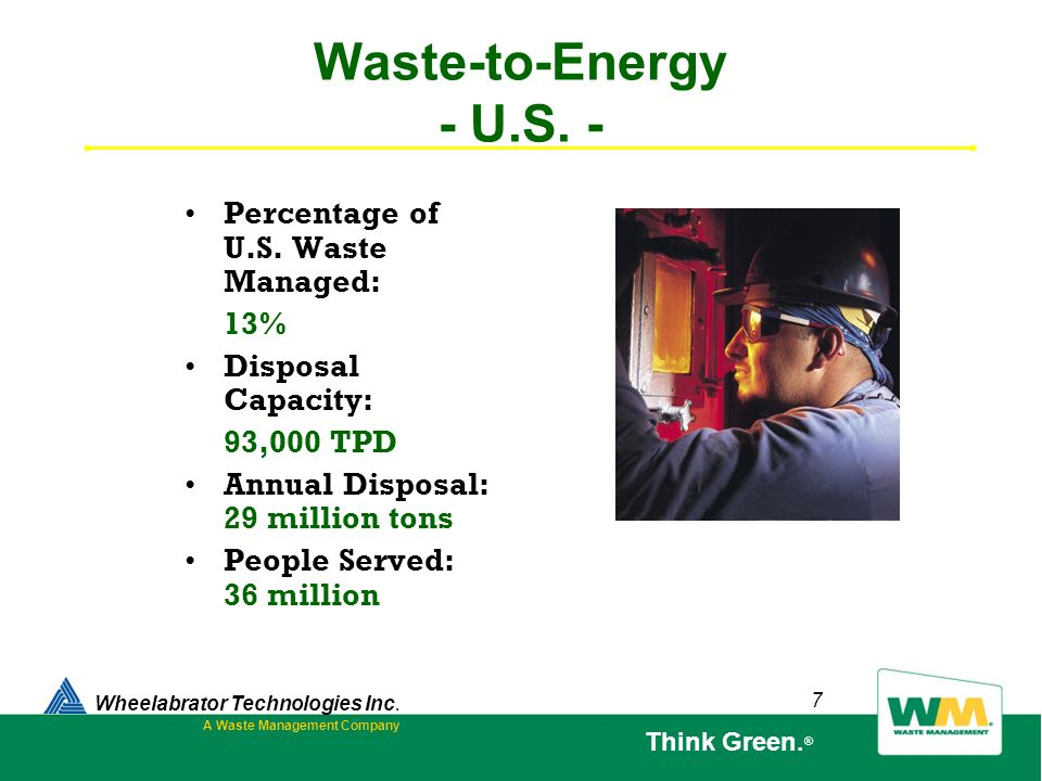 7 Waste-to-Energy - U.S. - Wheelabrator Technologies Inc. A Waste Management Company Think Green. ® Percentage of U.S. Waste Managed: 13% Disposal Cap