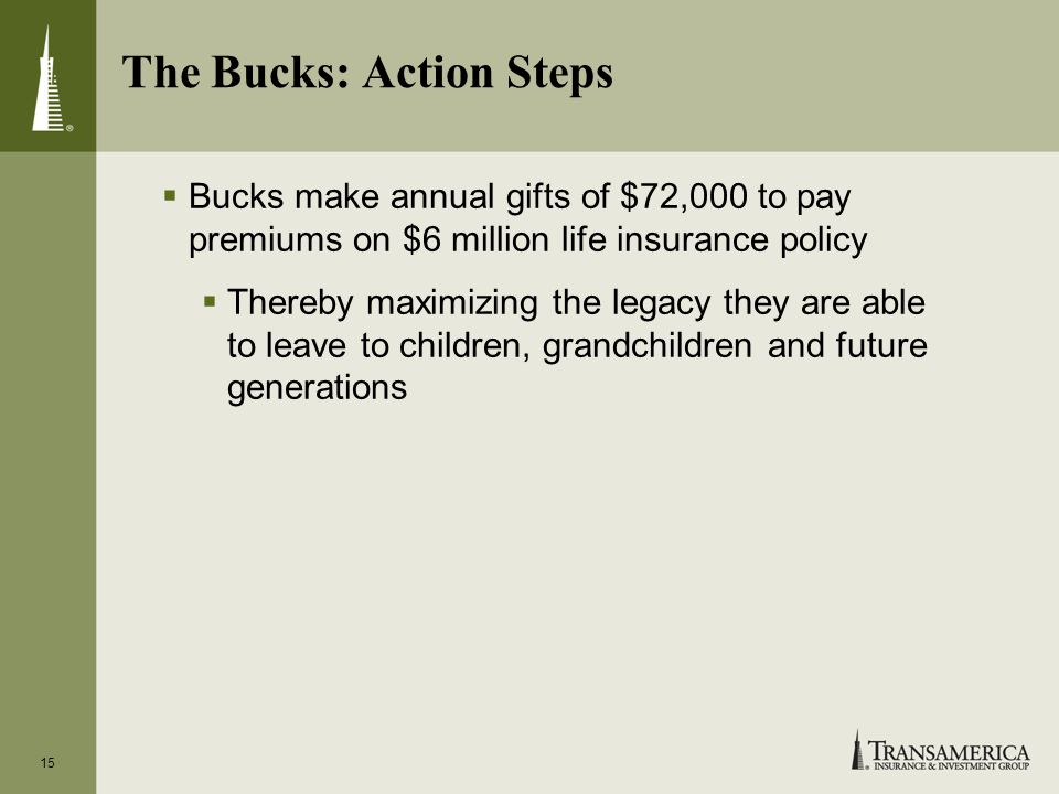15 The Bucks: Action Steps Bucks make annual gifts of $72,000 to pay premiums on $6 million life insurance policy Thereby maximizing the legacy they are able to leave to children, grandchildren and future generations