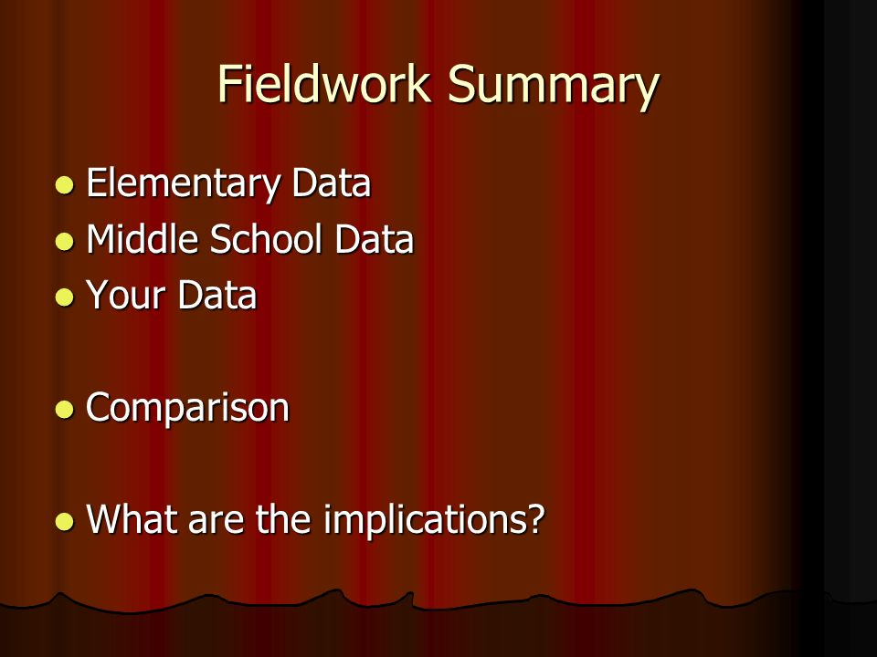 Fieldwork Summary Elementary Data Elementary Data Middle School Data Middle School Data Your Data Your Data Comparison Comparison What are the implica
