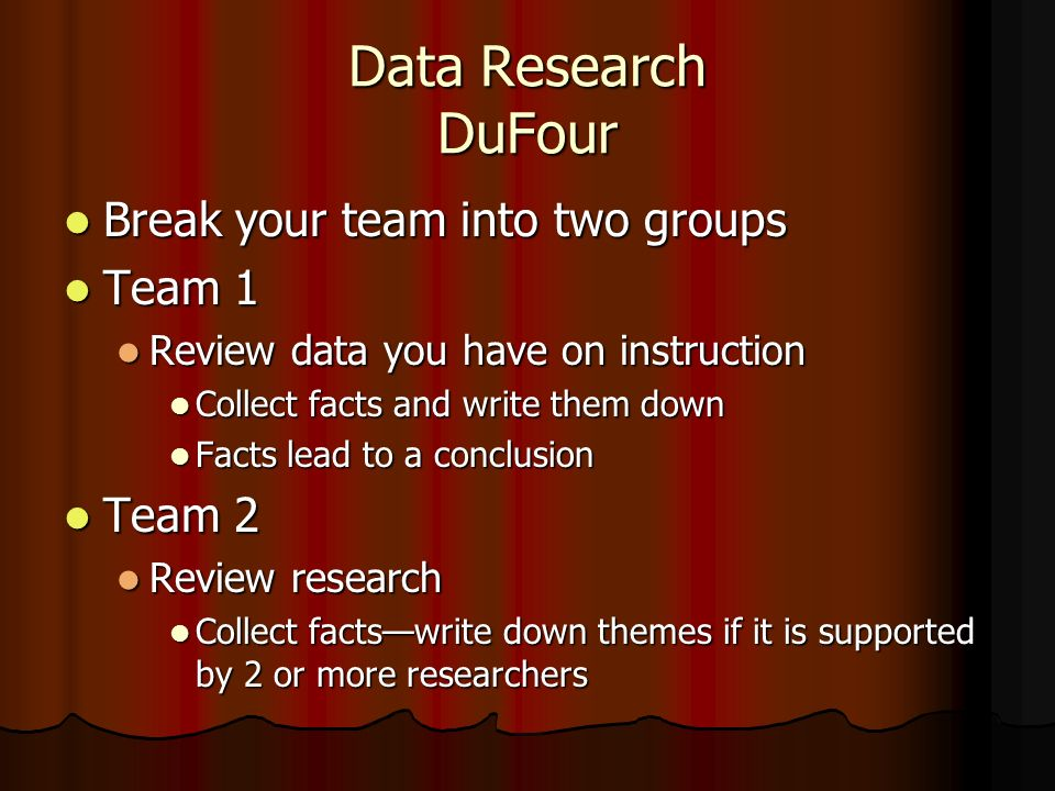 Data Research DuFour Break your team into two groups Break your team into two groups Team 1 Team 1 Review data you have on instruction Review data you