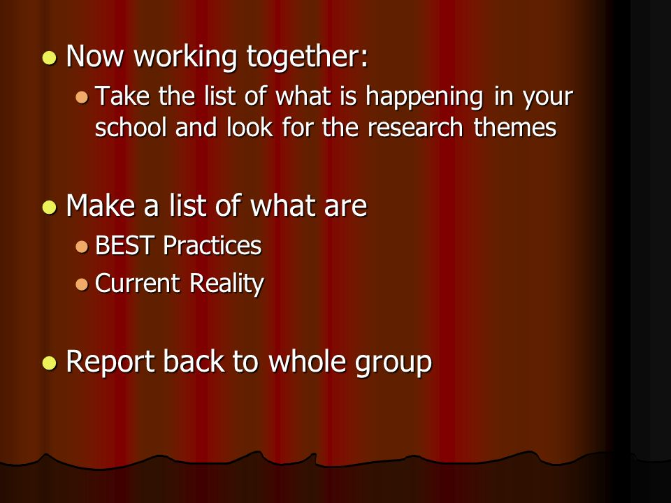 Now working together: Now working together: Take the list of what is happening in your school and look for the research themes Take the list of what i