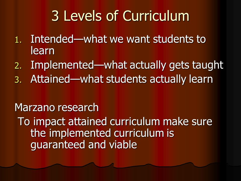 3 Levels of Curriculum 1. Intendedwhat we want students to learn 2. Implementedwhat actually gets taught 3. Attainedwhat students actually learn Marza