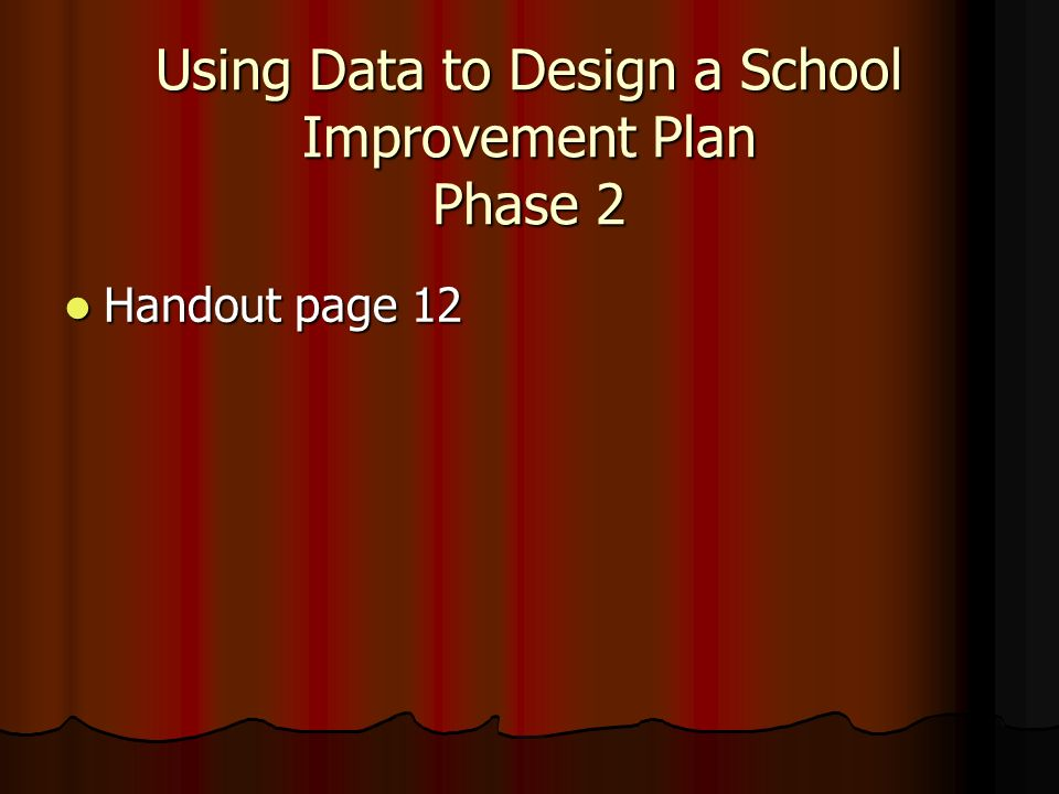 Using Data to Design a School Improvement Plan Phase 2 Handout page 12 Handout page 12